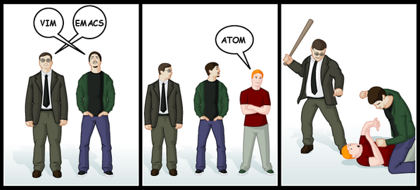 Vim and Emacs vs Atom